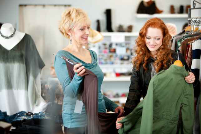 Boutique: Mother and Daughter Discussing Clothing