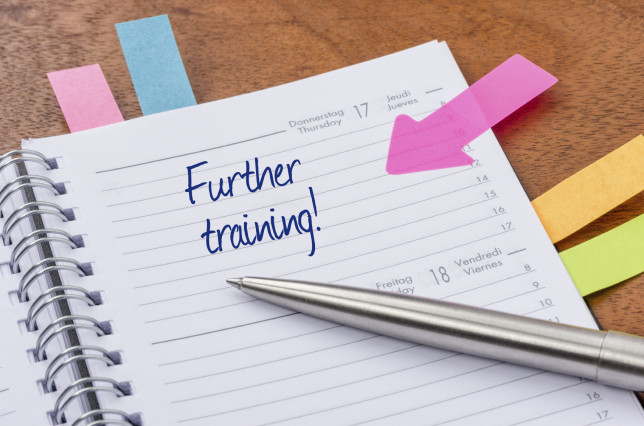 Daily planner with the entry Further training