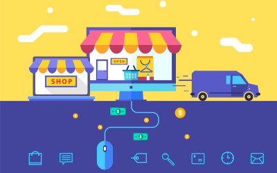 Flat design vector illustration concept of online shop. Eps 10