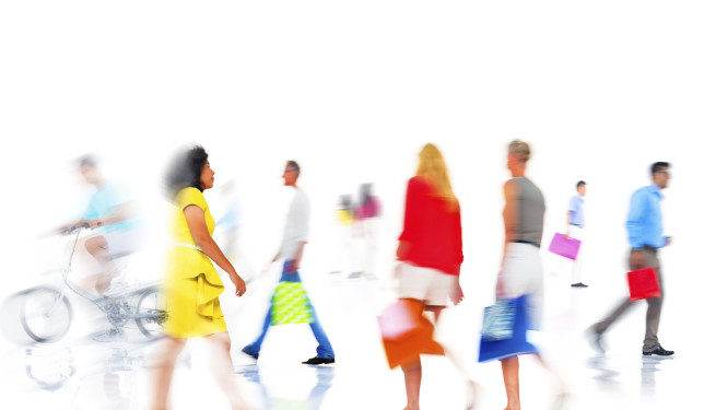 Group of Diverse Busy People Shopping