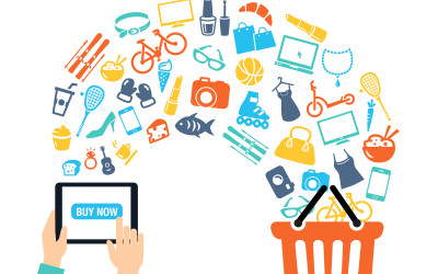 Shoppping background concept with icons - shopping online, using a PC, tablet or a smartphone. Can be used to illustrate mobile communication topics or consumerism.