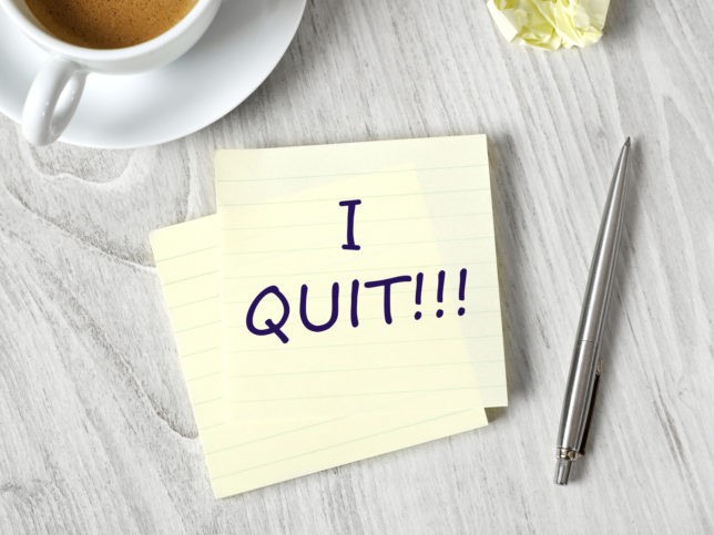 I quit message on adhesive note on office table