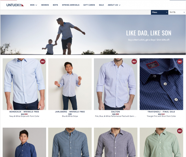 57b01080e5742 They're running a dad's day promotion in which shoppers can buy a men's  shirt and get a boys' shirt for 50% off.